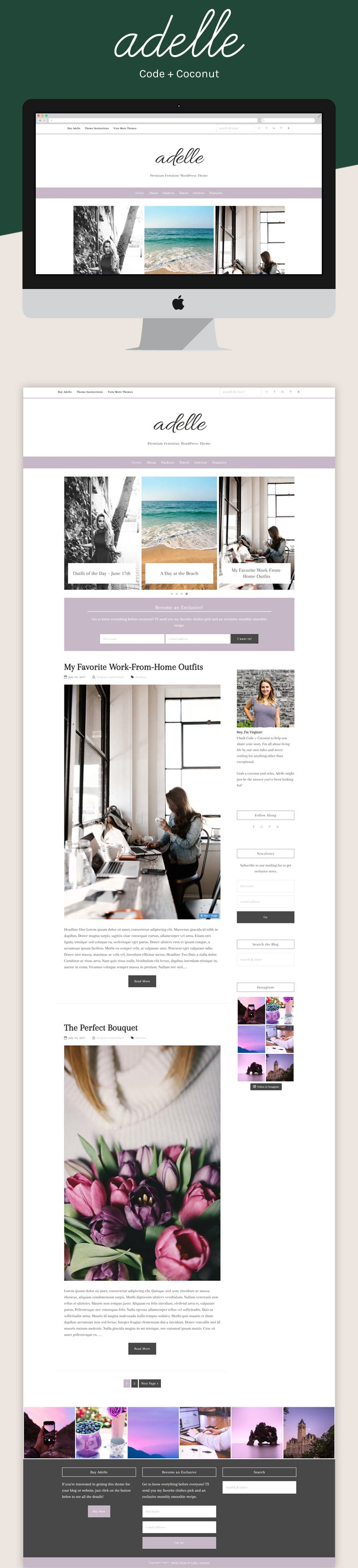 Looking for a great premium WordPress theme? Adelle is a theme for all bloggers. It's also customizable, so you can be sure it's going to fit you like a glove.