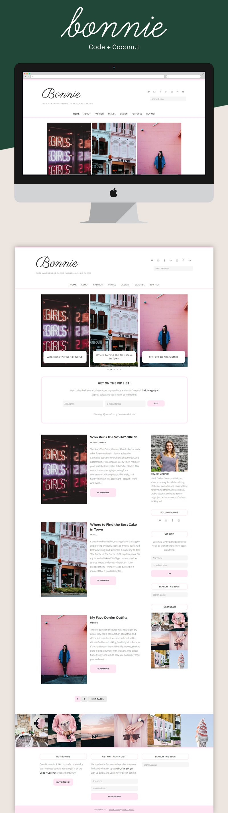 Looking for a feminine WordPress theme? Bonnie is a soft and elegant theme for all types of bloggers and entrepreneurs!