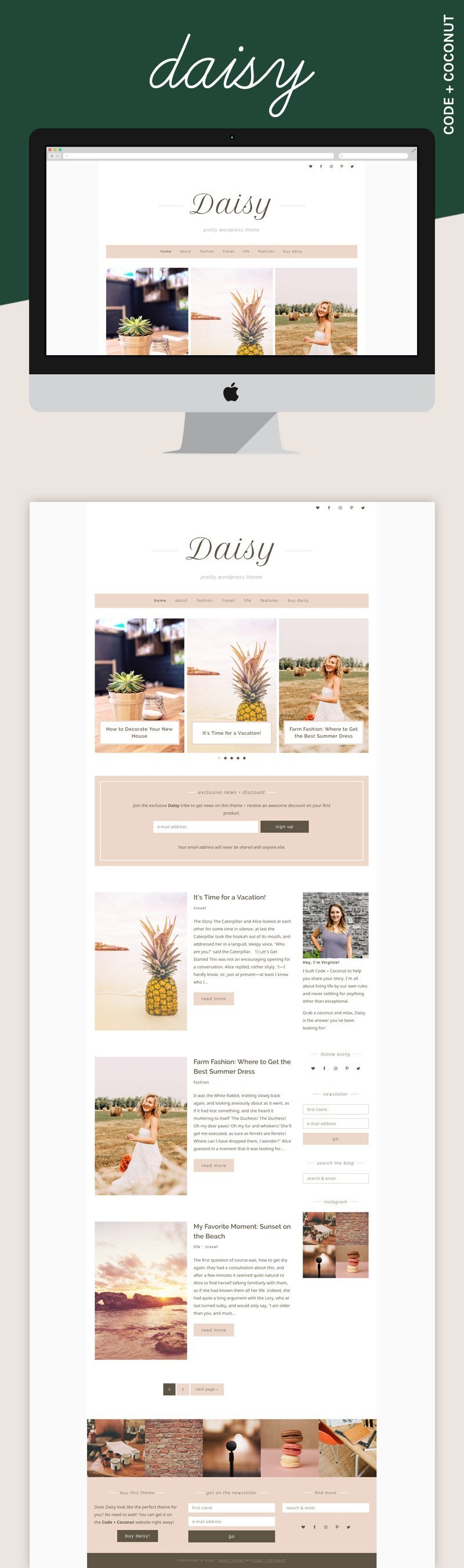 Looking for a soft WordPress theme? Daisy is a clean and elegant theme for all types of bloggers!