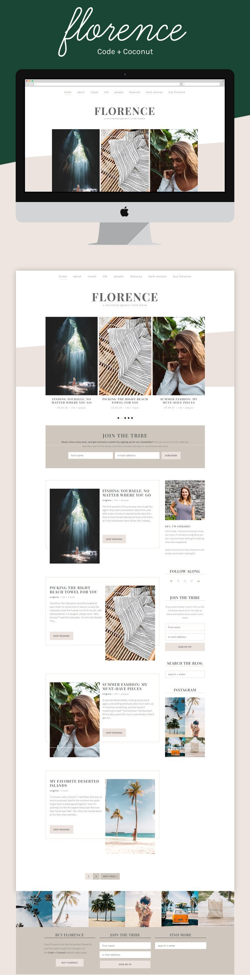 Whether you're in a moody or a beachy vibe, Florence knows just how to fit your style! As a minimalist theme, it's incredibly versatile, letting you adjust it however you need.  Florence is a gorgeous WordPress theme you'll have no problem installing on your website. In just a few clicks, you'll have it look just like the demo and will be ready to blog!  #wordpress #wordpresstheme #genesischildtheme #codeandcoconut